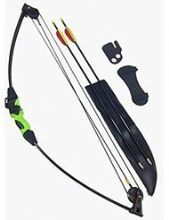 SILCO Black & Green Youth Kids Compound Bow Set 12lbs (with extra arrows)